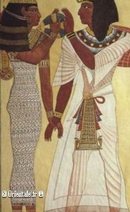 Egypte Antique - Couple - Femme robe en laine