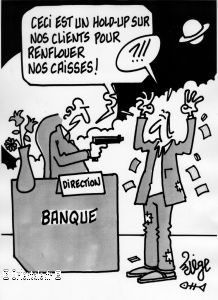 Hold up, caricature banque